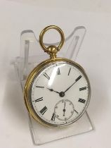 Antique gilt silver John Bennet fusee pocket watch with diamond end stone , good condition and