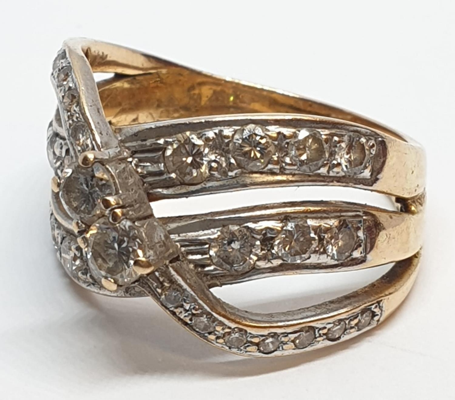 18ct Yellow gold diamond set fancy three row twist band ring. Weight 8.5g, Approx. 0.60ct of - Image 4 of 14