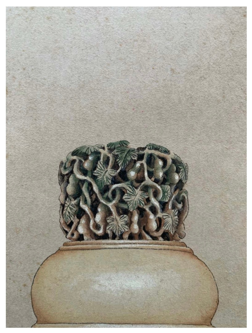 Ivory carved cricket jar with gourd vine pattern Chinese ink and watercolour on paper; Attribute - Image 3 of 4