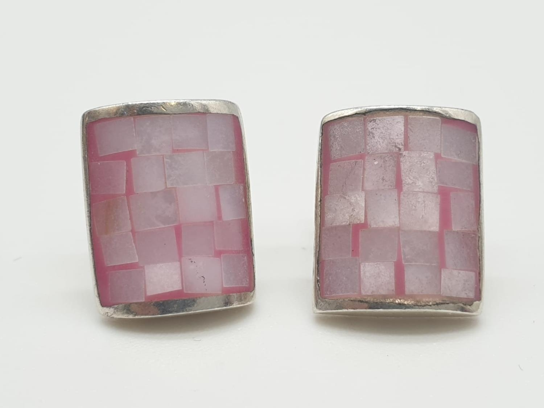 Silver stone set EARRINGS in rectangular form having pale pink mother of pearl brickwork pattern.