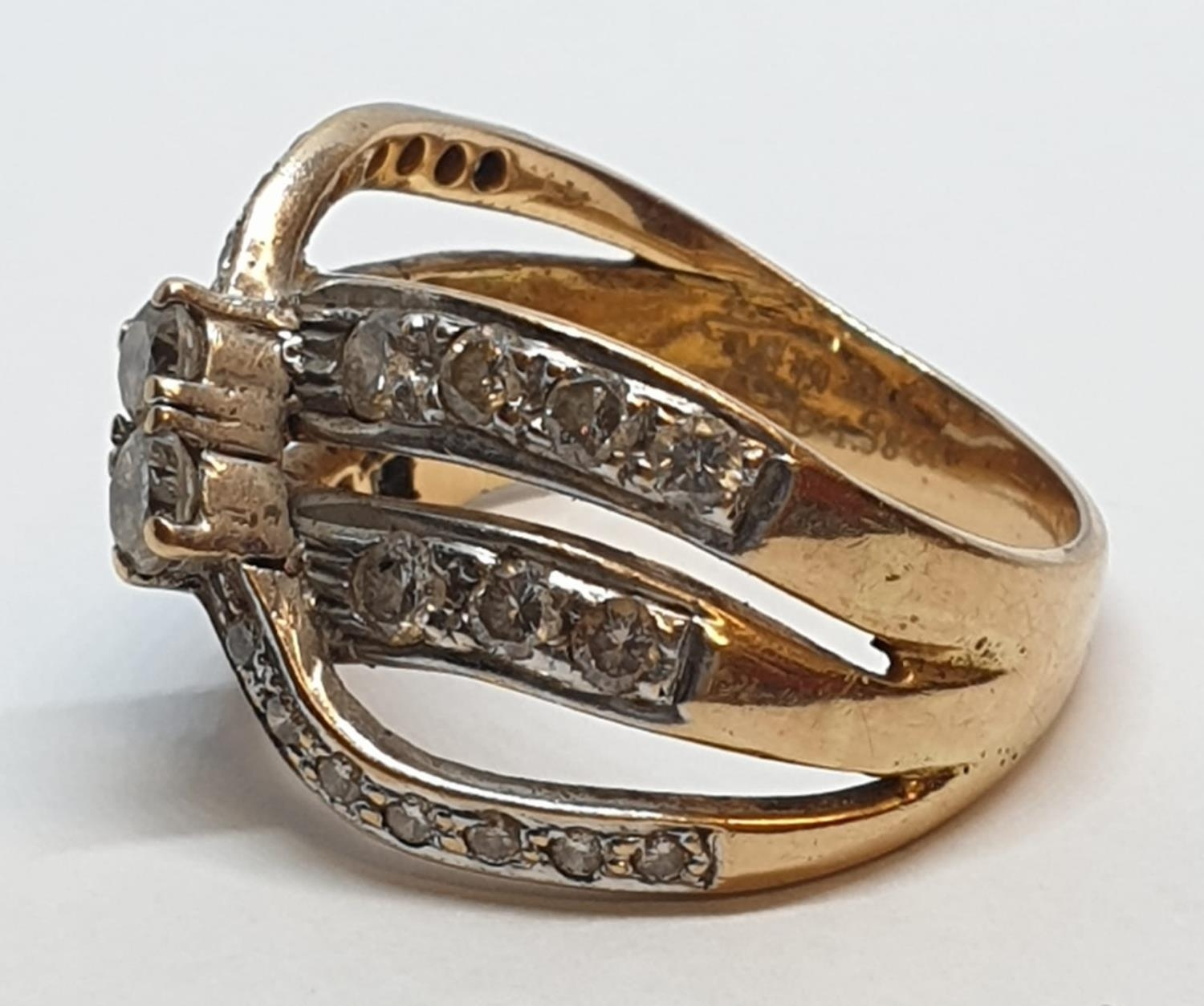 18ct Yellow gold diamond set fancy three row twist band ring. Weight 8.5g, Approx. 0.60ct of - Image 9 of 14