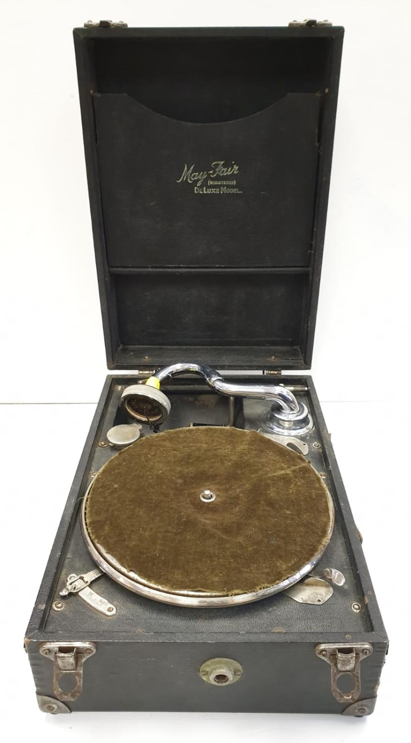 Vintage 1940's May-Fair Deluxe Wind-up Portable record player with 40 LP's. Full working order. Good - Image 2 of 13