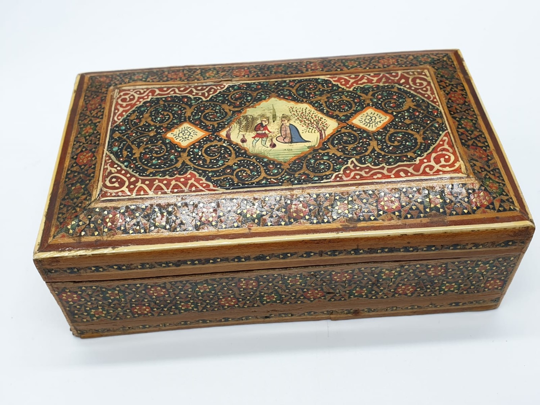 Persian Ghajari micro Mosiac box, 14x8.5cm