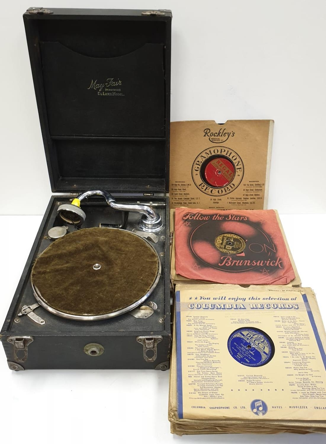 Vintage 1940's May-Fair Deluxe Wind-up Portable record player with 40 LP's. Full working order. Good