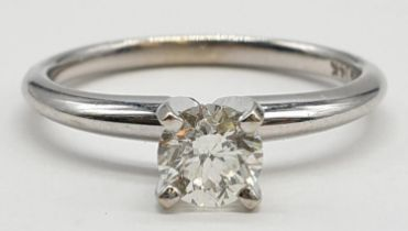 14ct white gold with 0.56ct diamond solitaire ring (round brilliant cut, colour H, clarity SI1