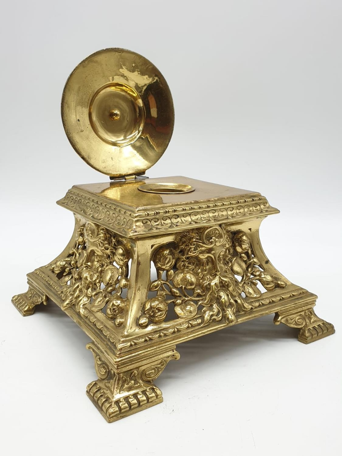 Ornate brass inkwell stand, 17cm tall, 19x19cm width - Image 6 of 9