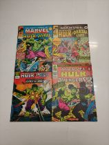 4 x Marvel comics. The Mighty World of Marvel Starring the Incredible Hulk. Dating from 1976 - 1978.