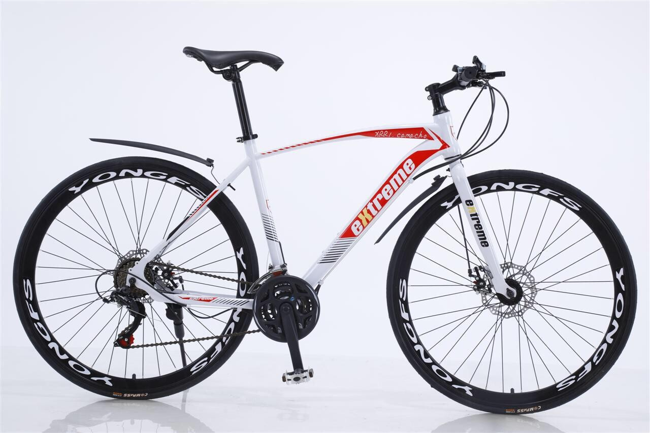 Commuting road bicycle 21 speed Shimano gears with 700c wheels in white, red and black (as new,