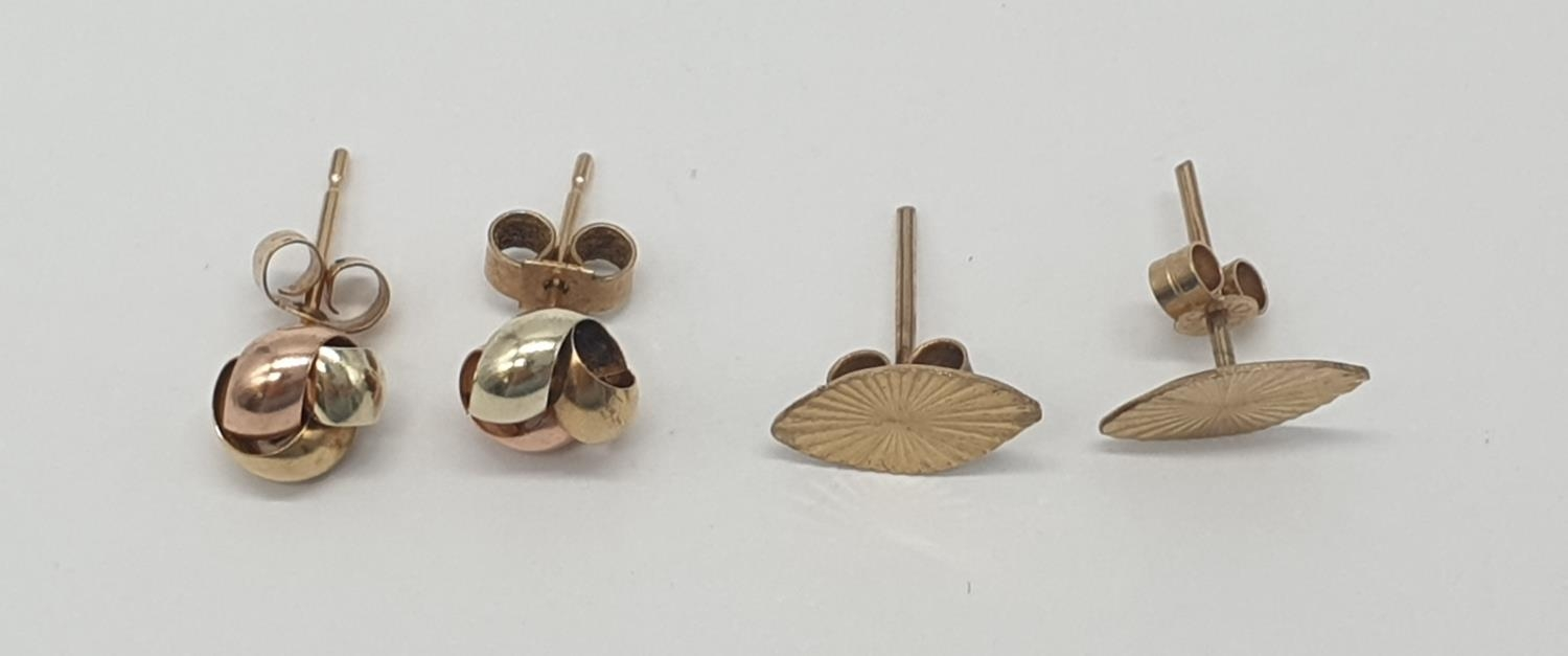 2x pairs of 9ct gold earrings (2) - Image 3 of 5