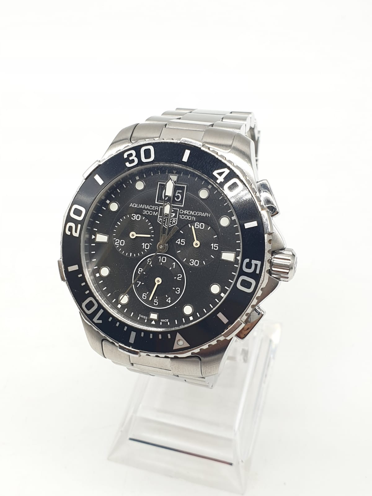 Tag Heuer gents chronograph Aquaracer watch, black face twisted bezel and steel strap, 44mm case - Image 12 of 14