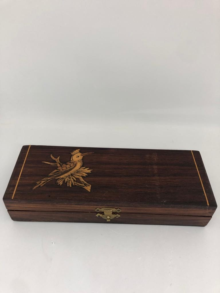 rosewood ( waxed and varnished) box; 19.9x7.2x4cm
