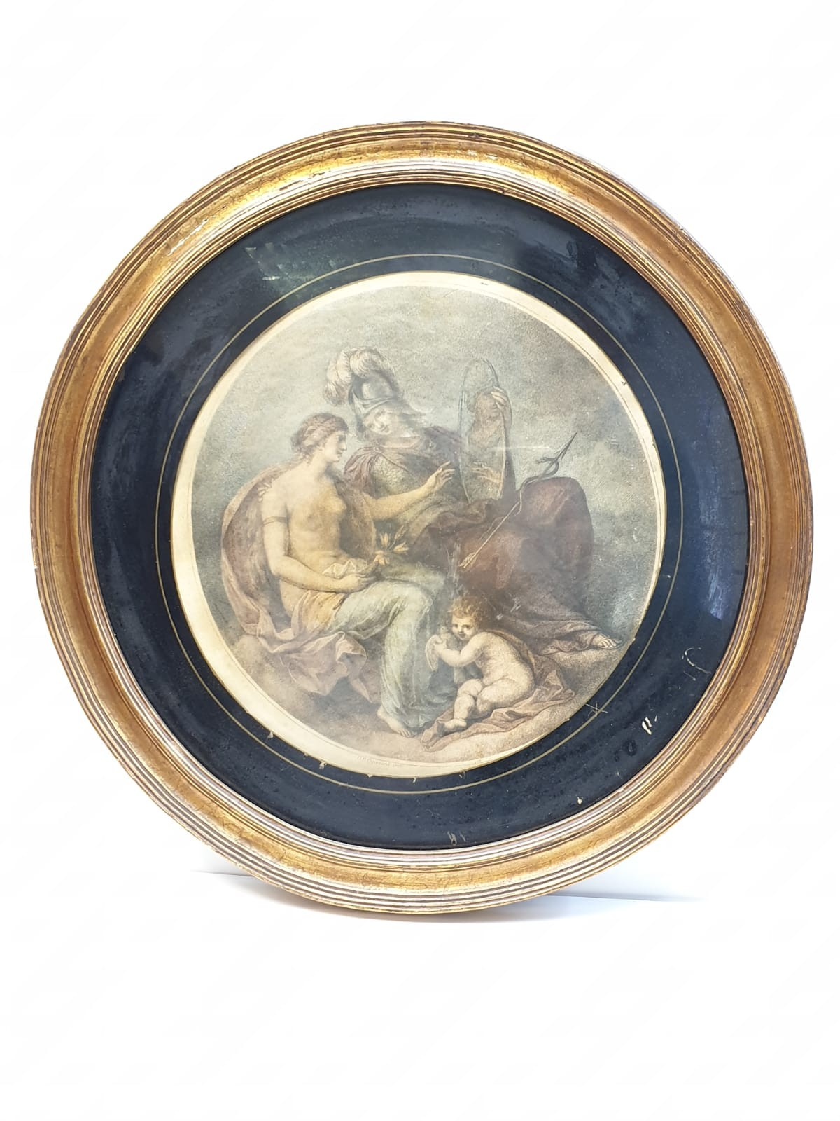 A very early Angelica Kauffman style print in circular gilt frame. 46cm in diameter.