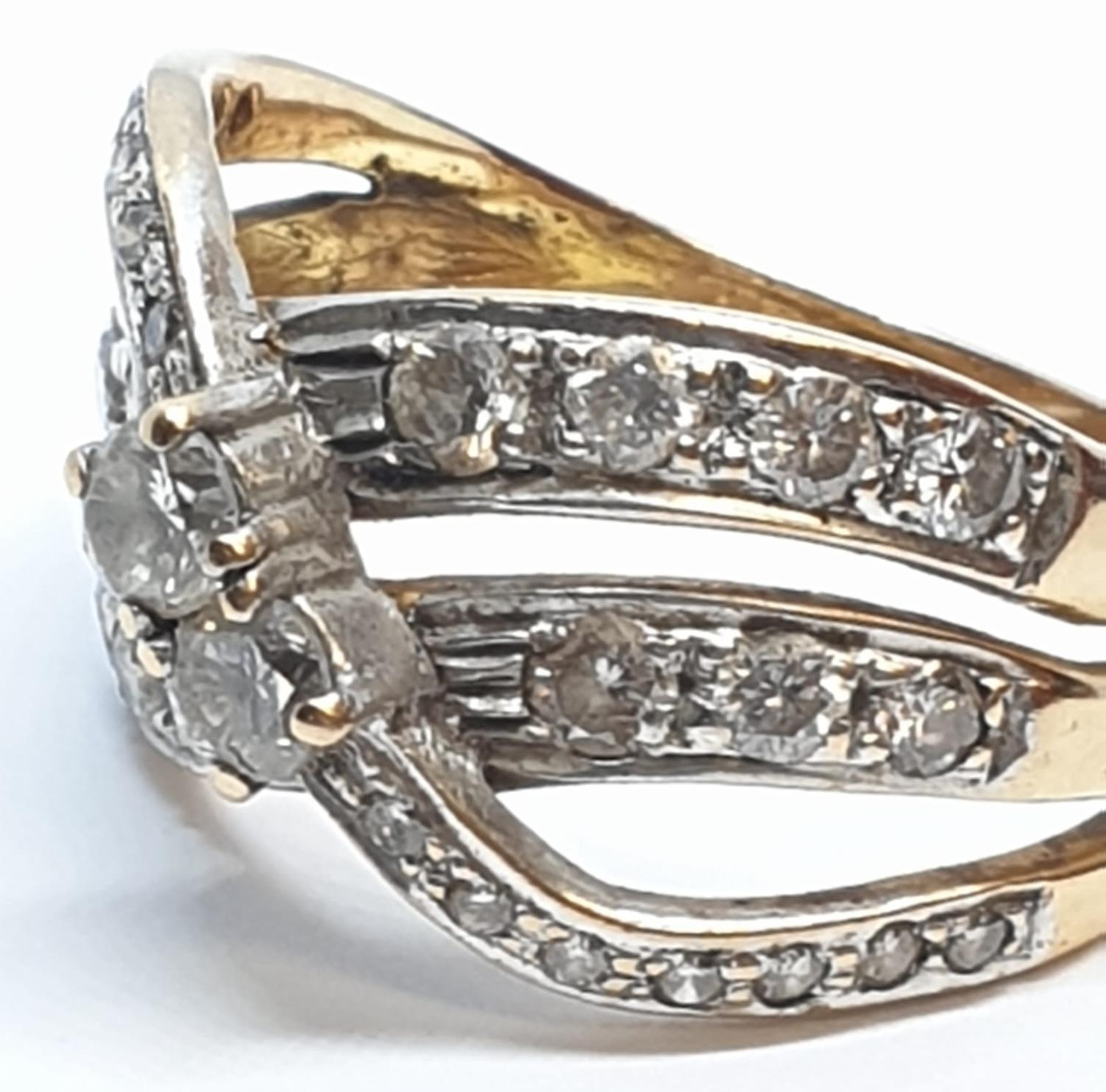 18ct Yellow gold diamond set fancy three row twist band ring. Weight 8.5g, Approx. 0.60ct of - Image 11 of 14
