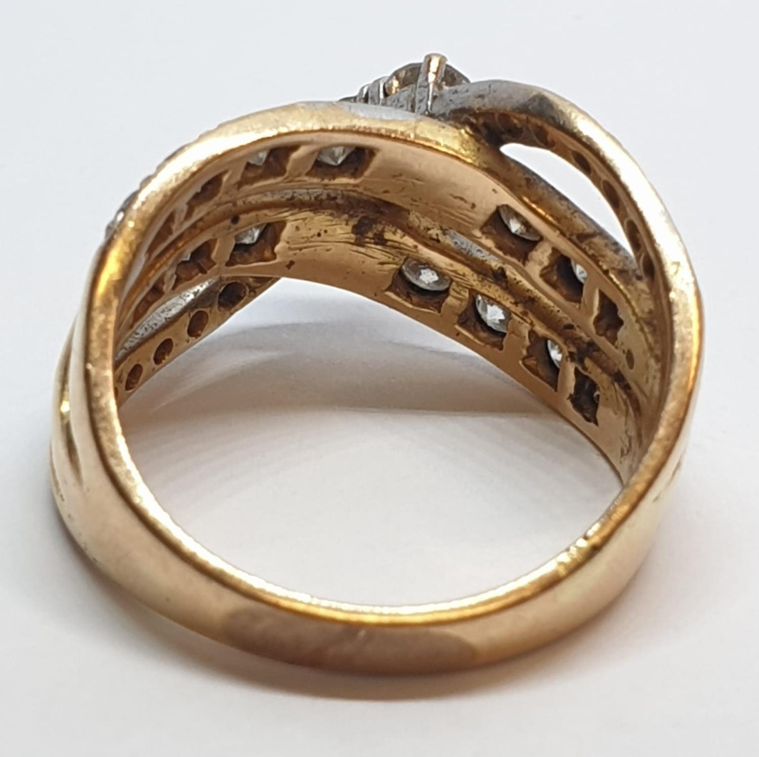 18ct Yellow gold diamond set fancy three row twist band ring. Weight 8.5g, Approx. 0.60ct of - Image 8 of 14