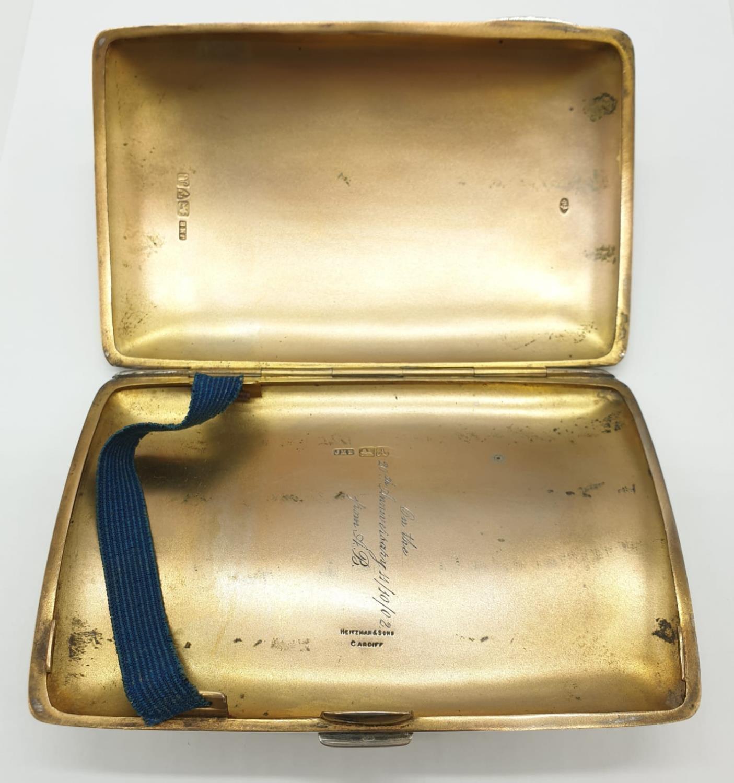 Edwardian John Millward Banks, Sterling Silver Cigarette Case Box with engraving on front, - Image 3 of 8