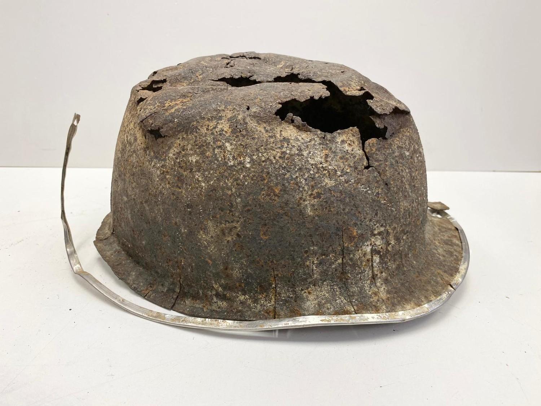 WW2 Normandy Relic Battle Damaged US M1 Helmet. Found under a hedge near St Lo.