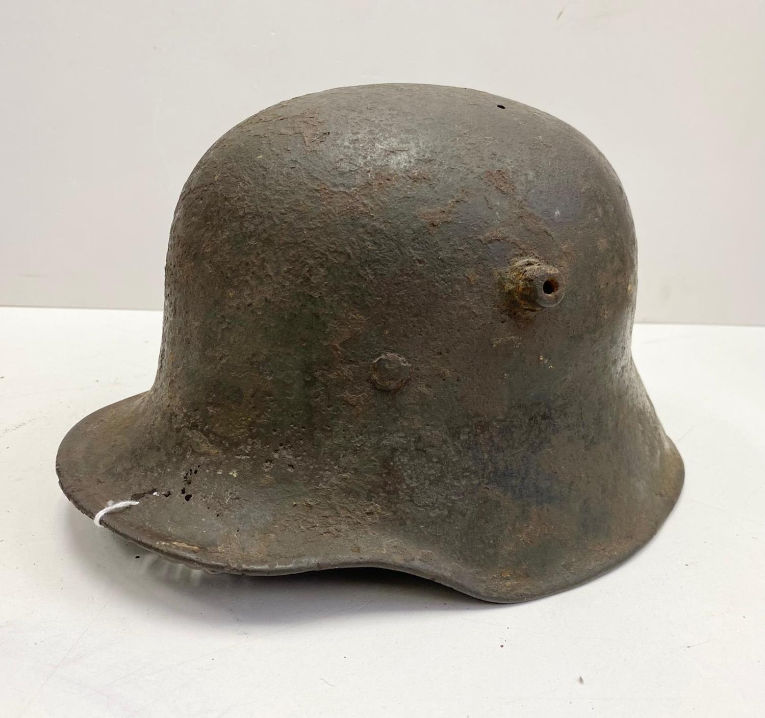 WW1 Semi Relic German M17 Stahlhelm Helmet. Nice solid shell with much of the original paint.