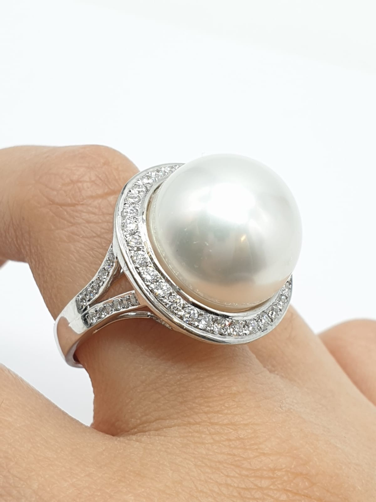A large Kimoto pearl (17mm diameter) ring set in diamond and 18ct white gold ring, weight 14.43g and - Image 7 of 7