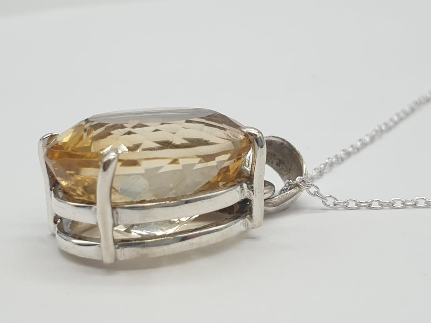 Citrine Gemstone Pendant set in Sterling Silver on a 40cm long silver chain, weight 10g approx and - Image 2 of 6