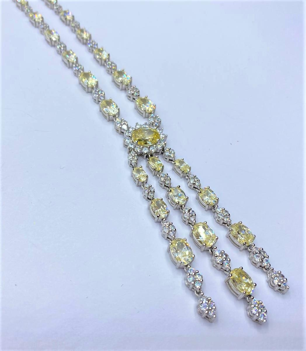 Silver heavy NECKLACE with white and yellow stones. 45.78g 40cm. - Image 3 of 3