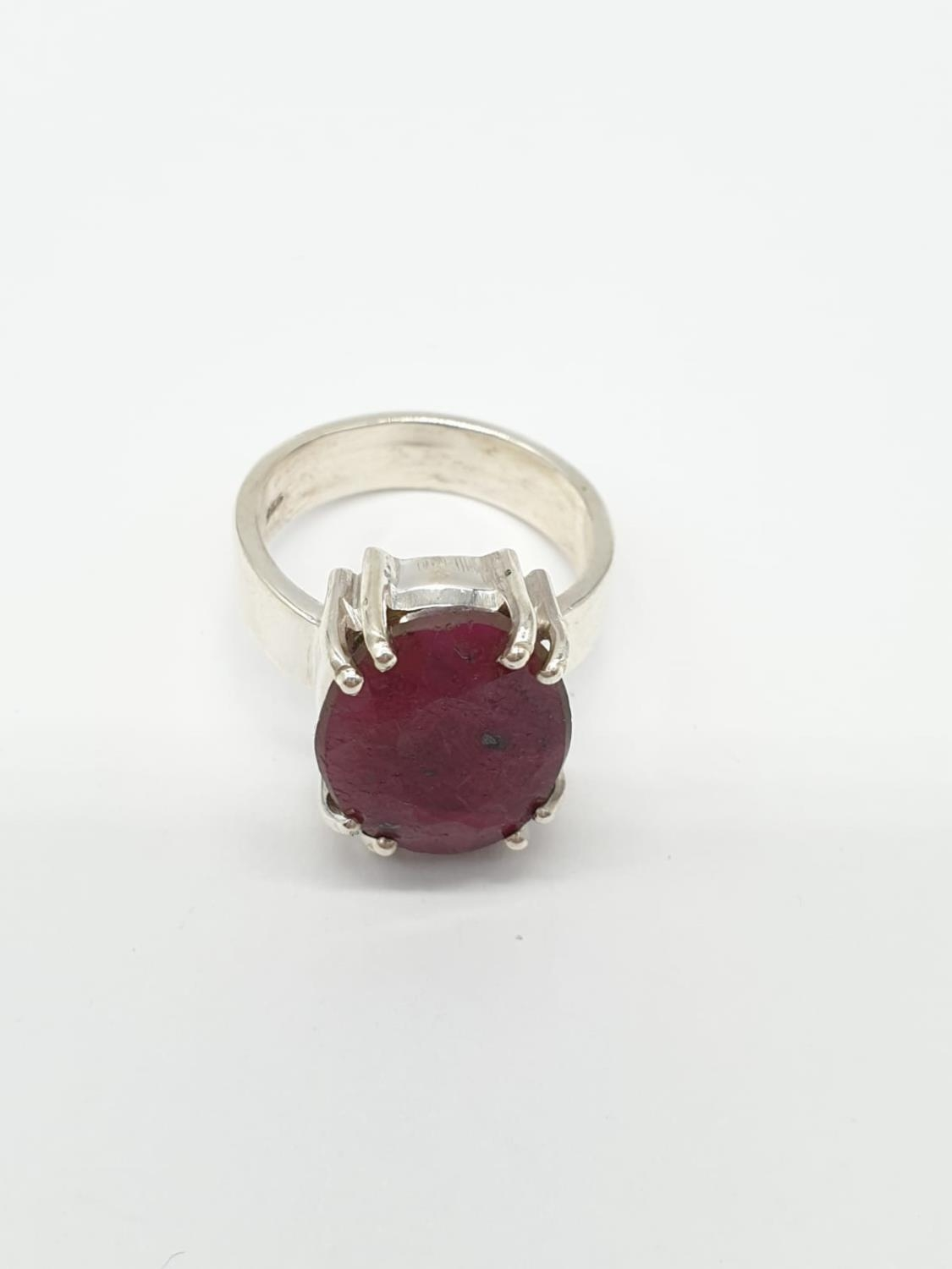 Dressed ruby silver N size ring