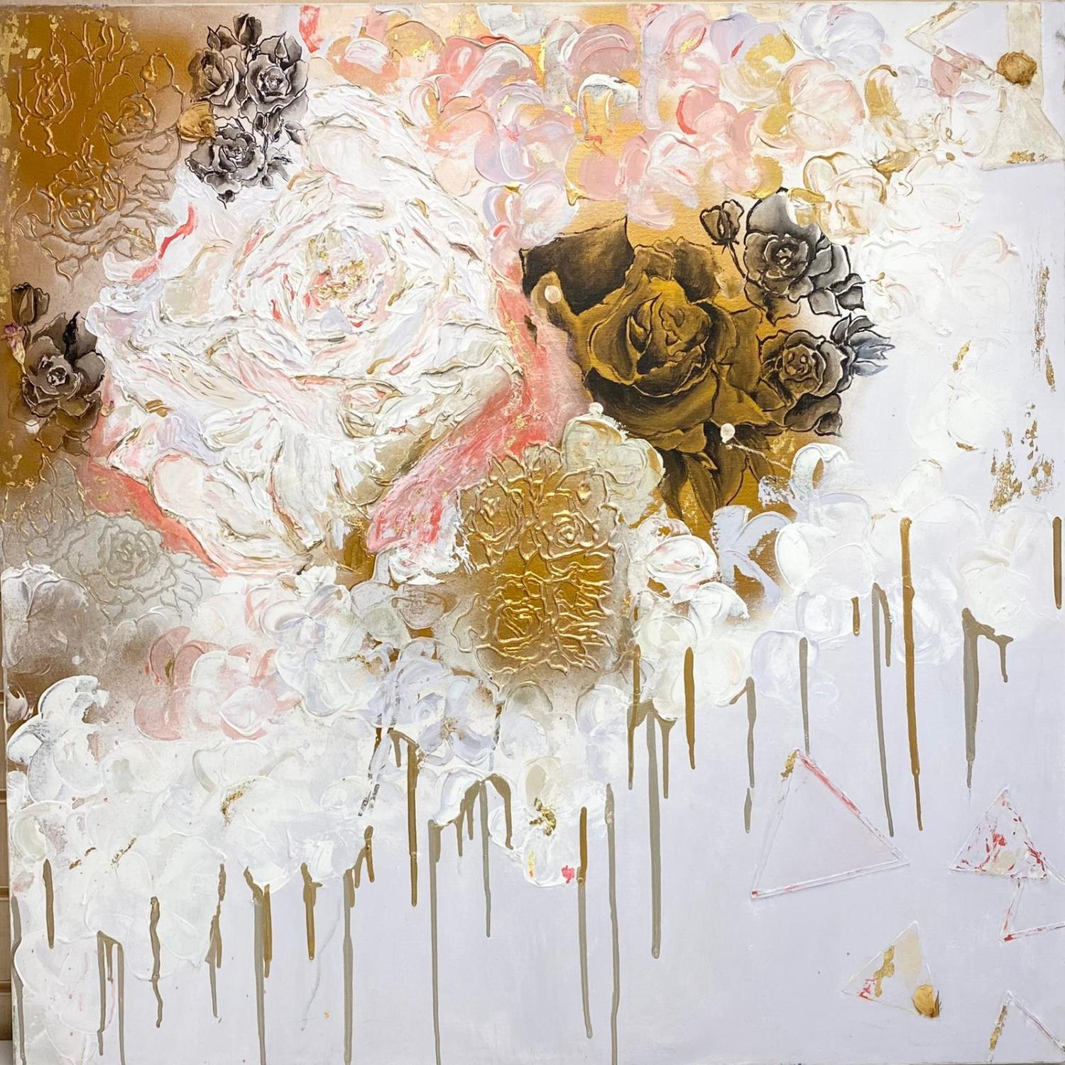 Contemporary abstract painting by well known artist Jaimee Miller. Size 100 x 100 cm. - Image 2 of 2