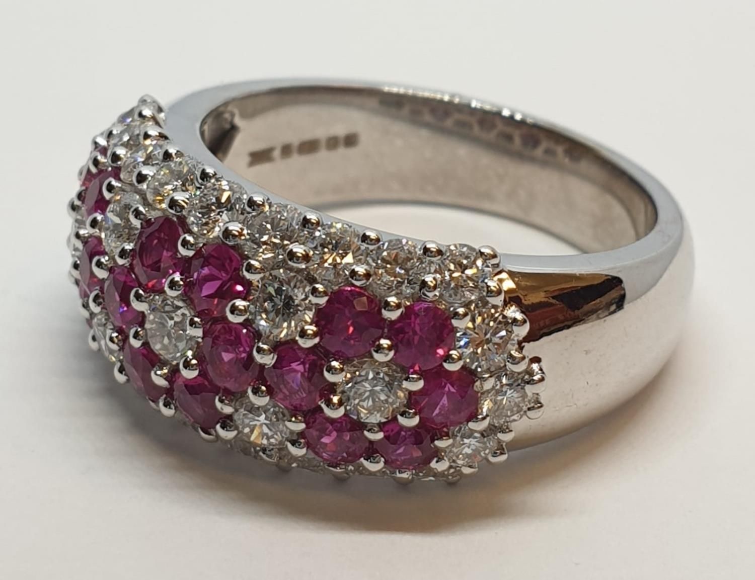 18ct white gold ring with over 1ct ruby and 1.8ct diamonds in flower design, weight 9.39g and size M - Image 3 of 11