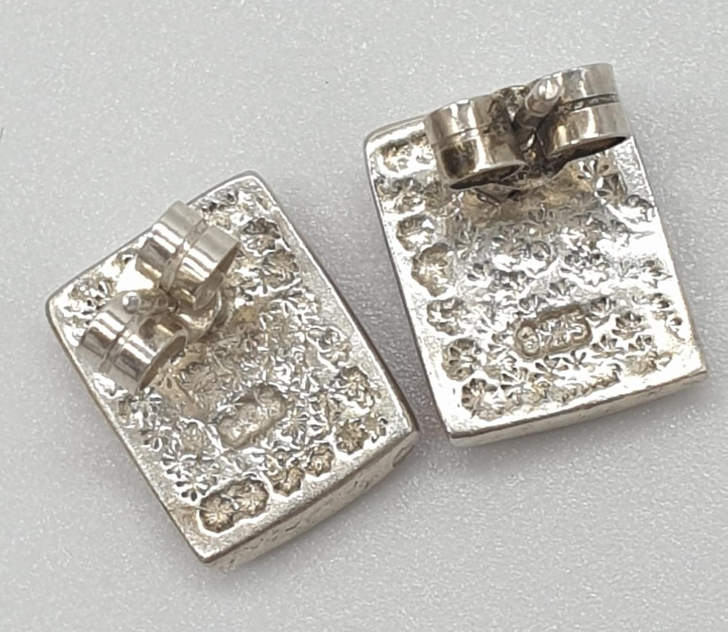 Silver stone set EARRINGS in rectangular form having pale pink mother of pearl brickwork pattern. - Image 3 of 3