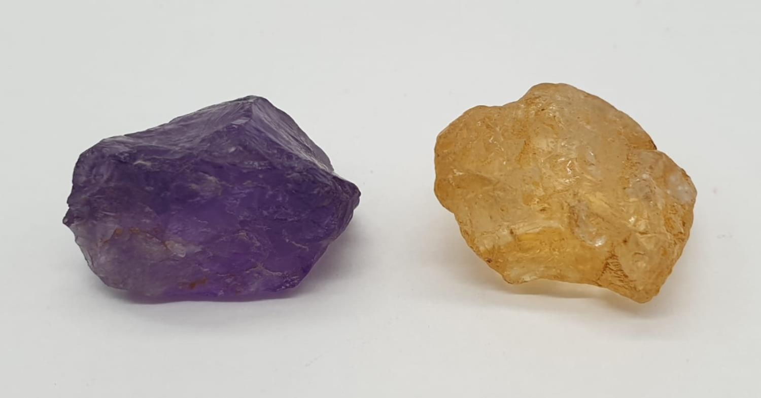 Total 30cts Amethyst and yellow topaz 2 large rough gemstones - Image 3 of 3
