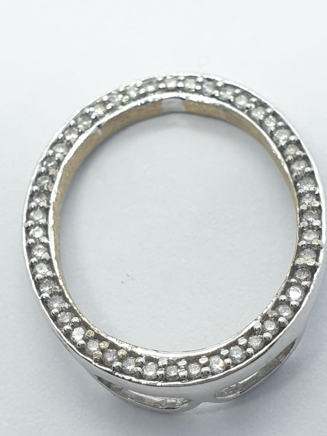 18ct white gold diamond set pendant, weight 2.3g and 2cm long approx - Image 4 of 6