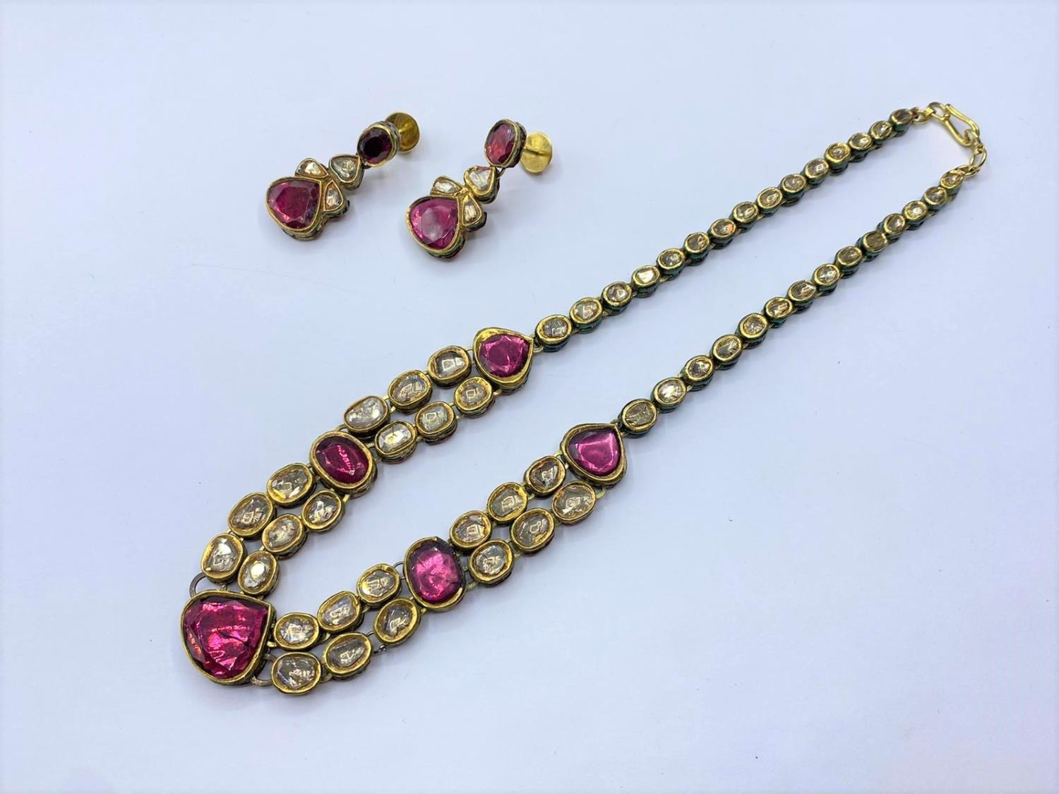 18k Indian set of Ruby and Rose Diamonds NECKLACE (40cm) and EARRINGS. 68g. - Image 3 of 9
