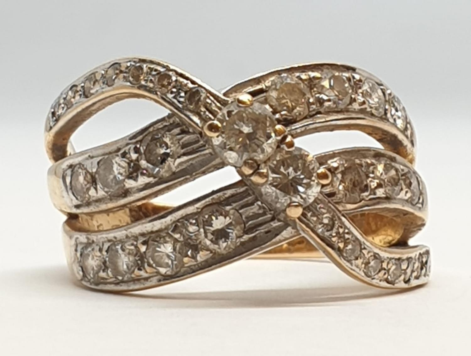 18ct Yellow gold diamond set fancy three row twist band ring. Weight 8.5g, Approx. 0.60ct of - Image 3 of 14