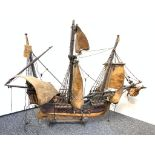 Antique scale model of the Santa Maria, needing a tidy up, 92x66cm approx
