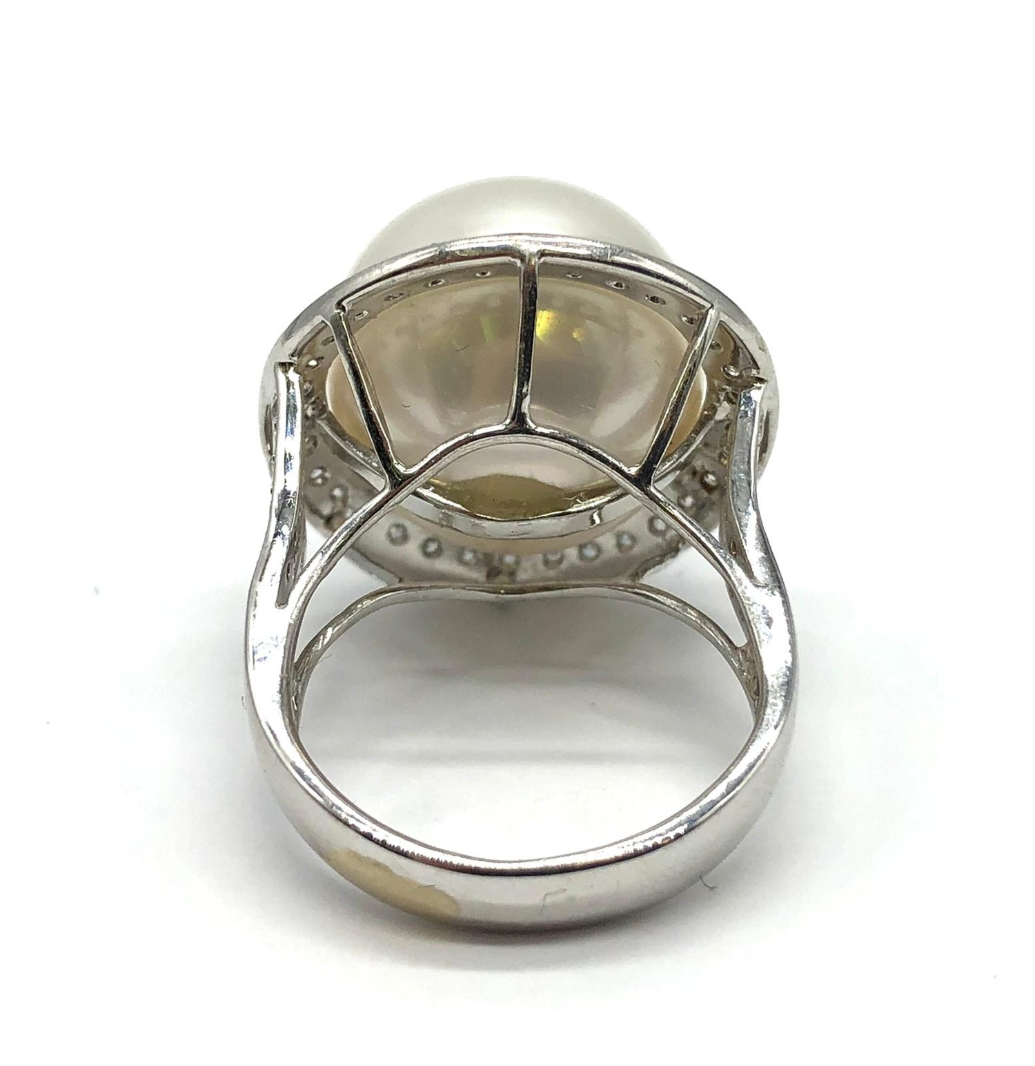 A large Kimoto pearl (17mm diameter) ring set in diamond and 18ct white gold ring, weight 14.43g and - Image 3 of 7