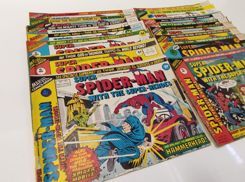 27 editions of Vintage Super Spider-Man Marvel Comics.