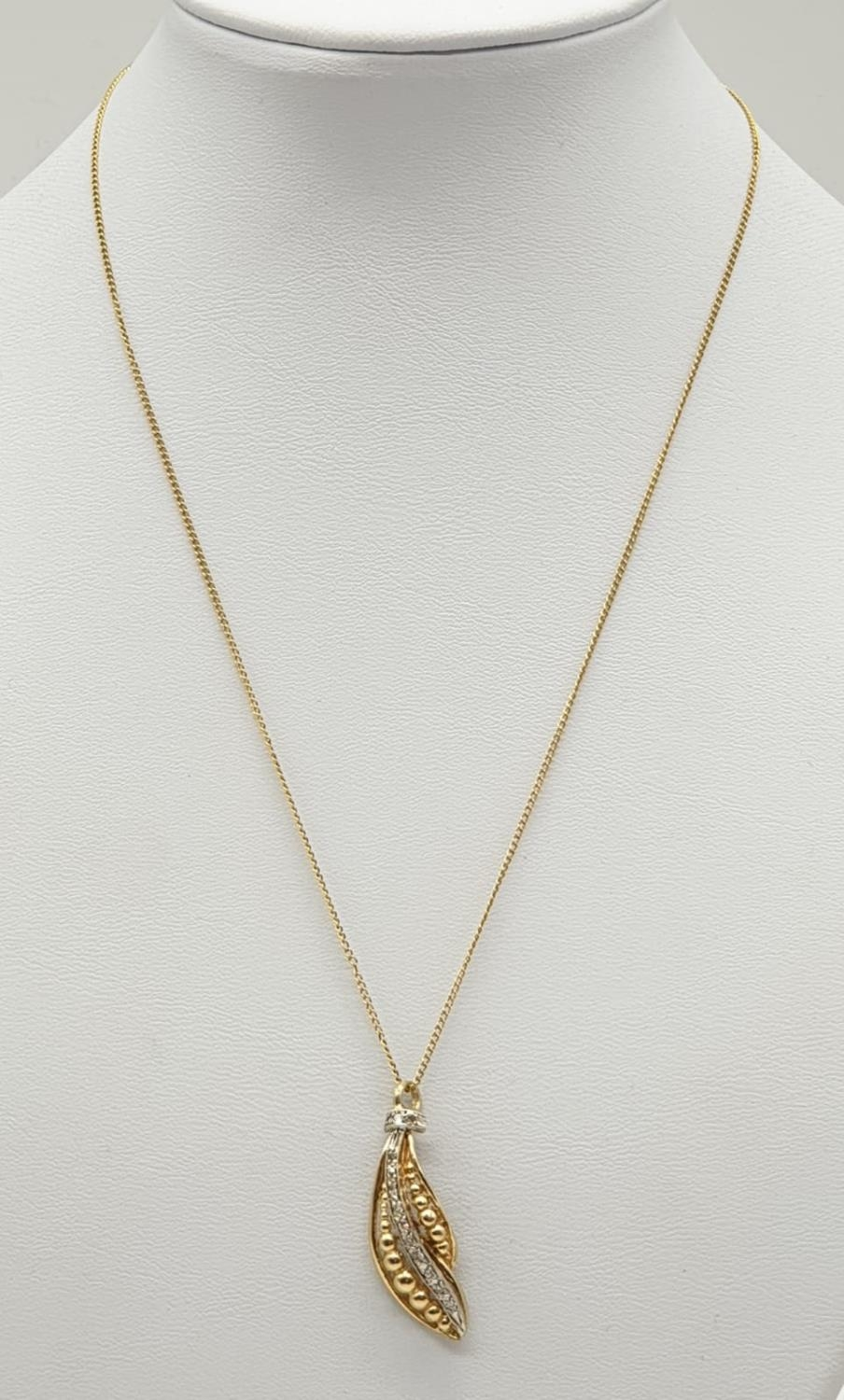 18ct gold diamond set pendant on chain, weight 3.69g and 40cm long, pendant 3 x 1cm - Image 4 of 9