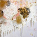 Contemporary abstract painting by well known artist Jaimee Miller. Size 100 x 100 cm.