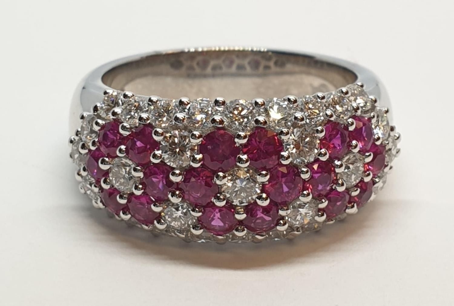 18ct white gold ring with over 1ct ruby and 1.8ct diamonds in flower design, weight 9.39g and size M - Image 2 of 11