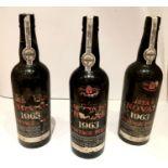 3 bottles of 1963 Quinto do Noval vintage port.