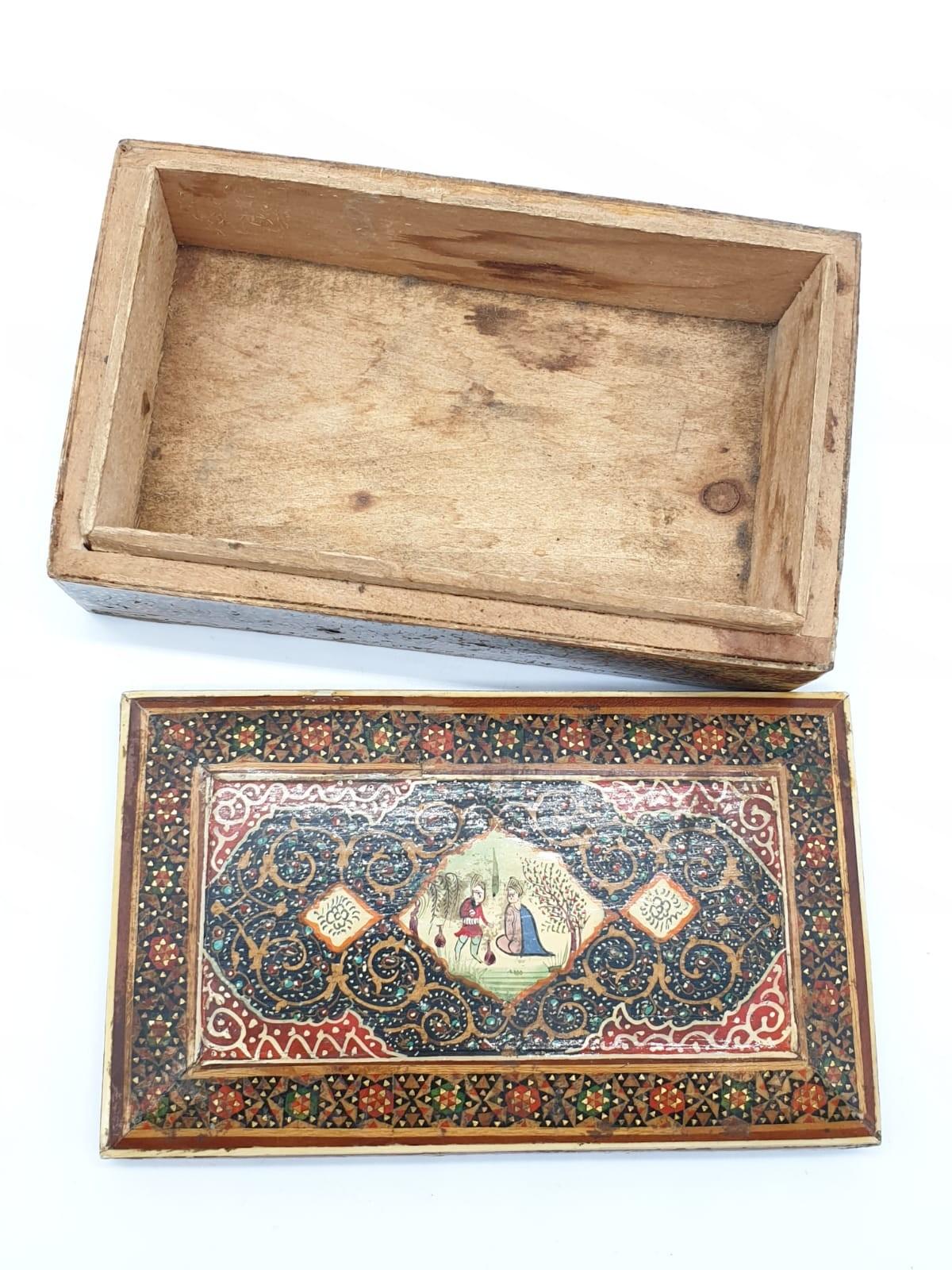 Persian Ghajari micro Mosiac box, 14x8.5cm - Image 3 of 5