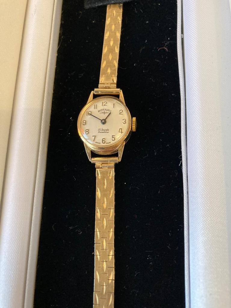 Vintage ladies 9ct gold Rotary wristwatch, full hallmark to strap and watch, working order ,manual