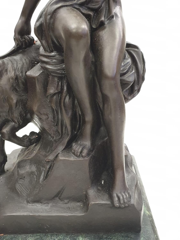 Bronze Pierre Julien figurine on plinth. 'Amalthea and Jupiter's Goat'. Height 45cm. Weight 9.7kg - Image 8 of 27