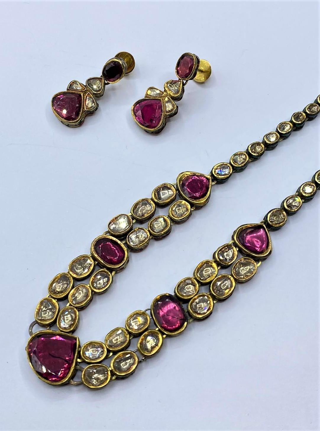 18k Indian set of Ruby and Rose Diamonds NECKLACE (40cm) and EARRINGS. 68g. - Image 4 of 9