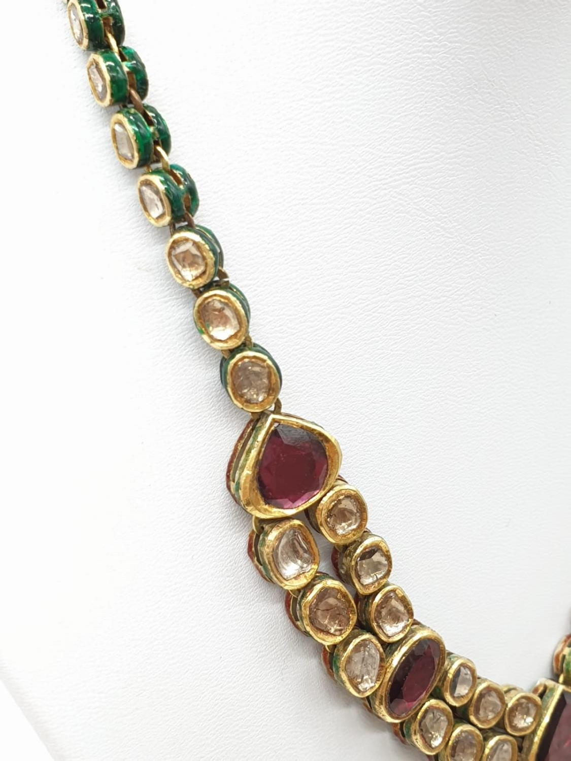 18k Indian set of Ruby and Rose Diamonds NECKLACE (40cm) and EARRINGS. 68g. - Image 6 of 9