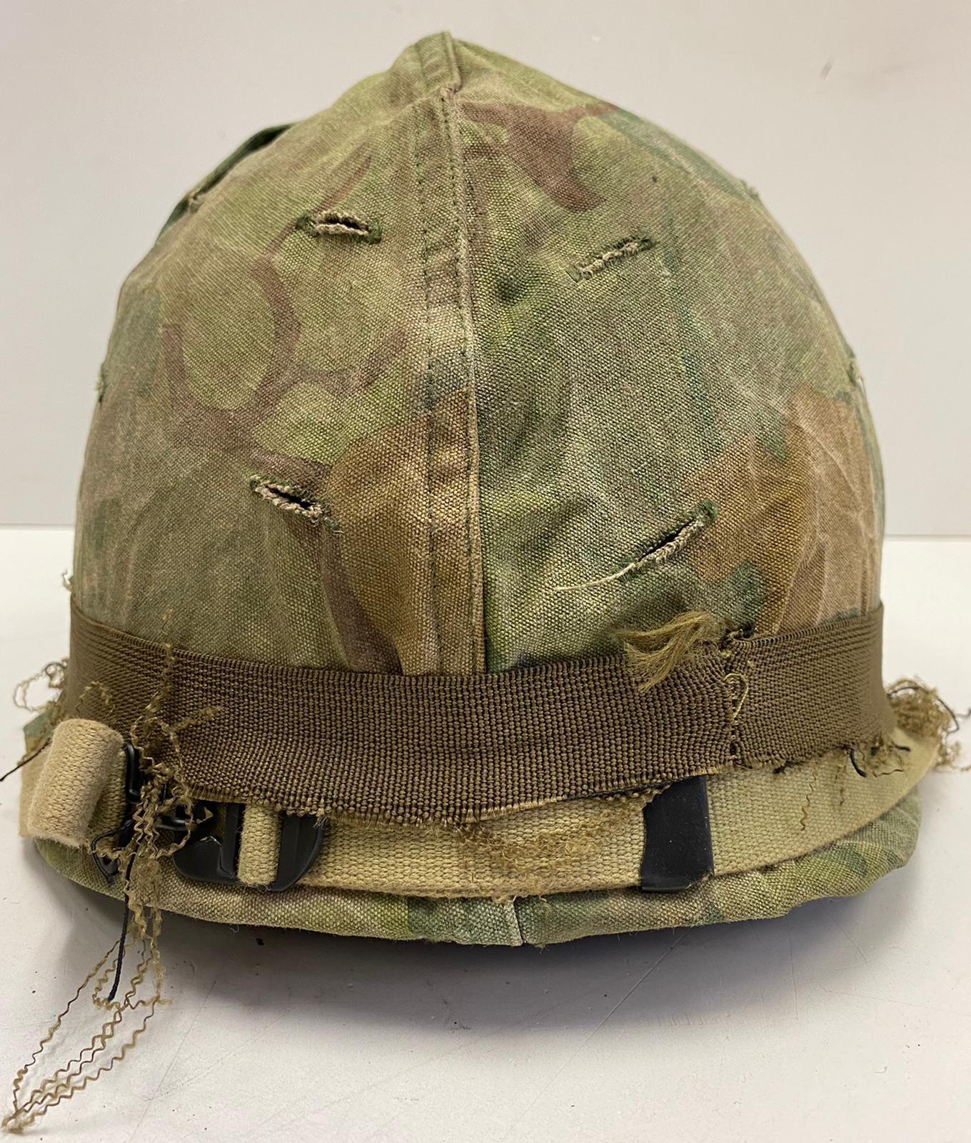 Vietnam War Era U.S.M.C Helmet. The Mitchel-Duck Hunter Reversible Helmet Cover is marked inside ? - Image 2 of 5