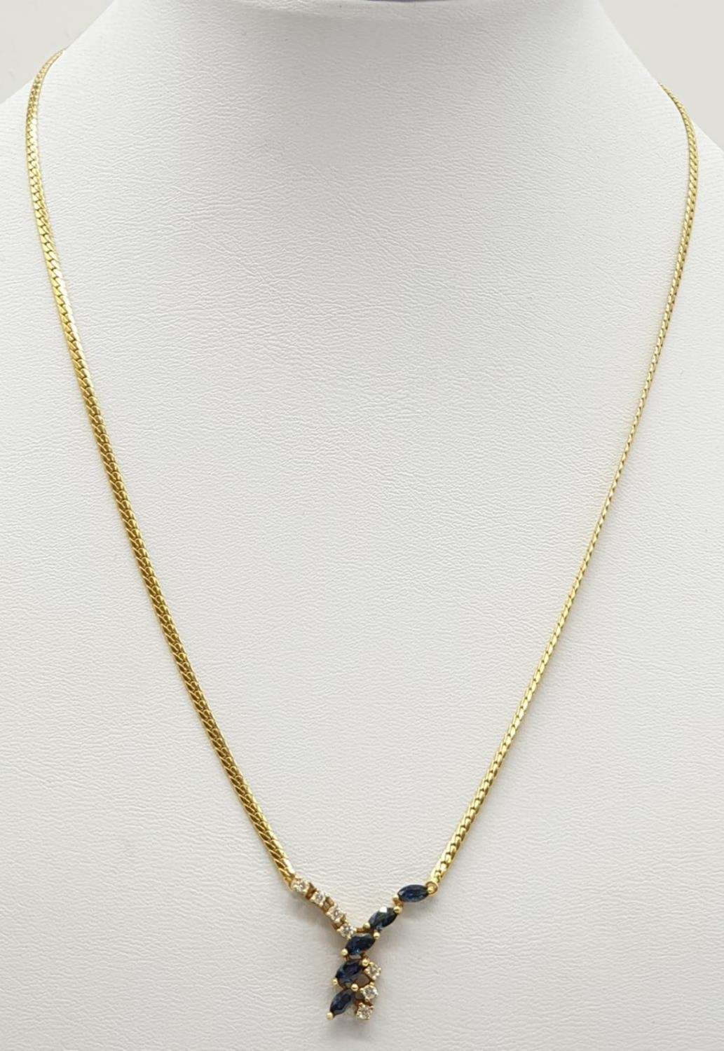 18ct Yellow gold diamond and sapphire collar style necklace Weight 8.8g, Approx.. 0.25ct of diamond. - Image 5 of 6