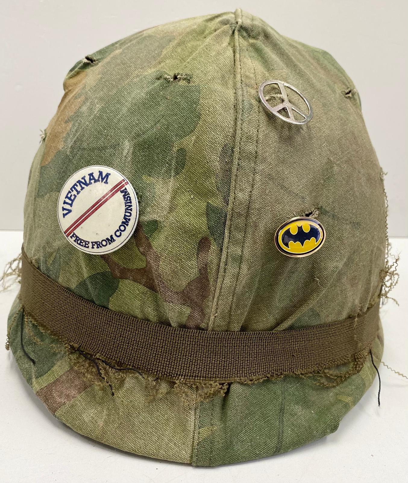 Vietnam War Era U.S.M.C Helmet. The Mitchel-Duck Hunter Reversible Helmet Cover is marked inside ?