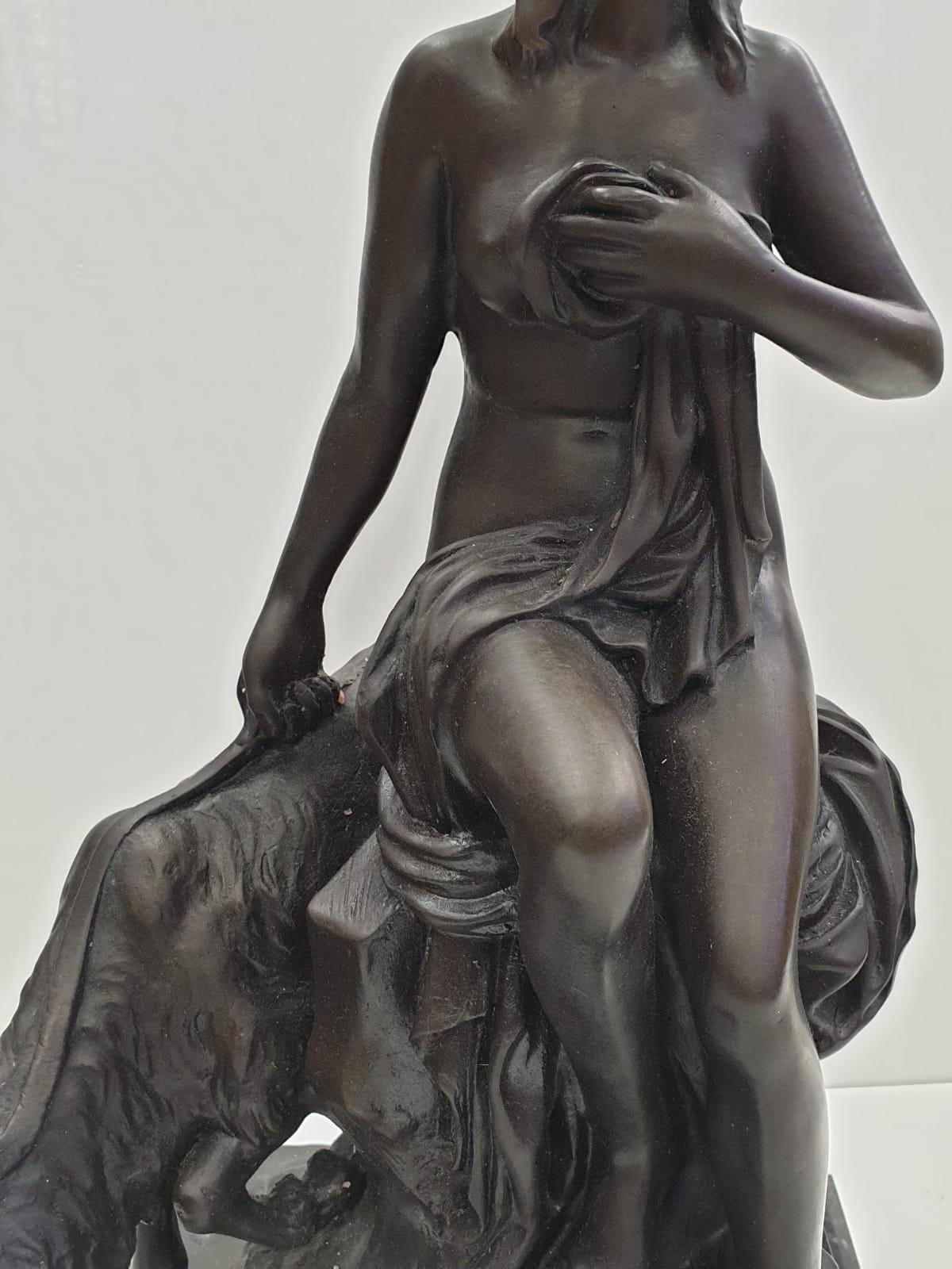 Bronze Pierre Julien figurine on plinth. 'Amalthea and Jupiter's Goat'. Height 45cm. Weight 9.7kg - Image 19 of 27