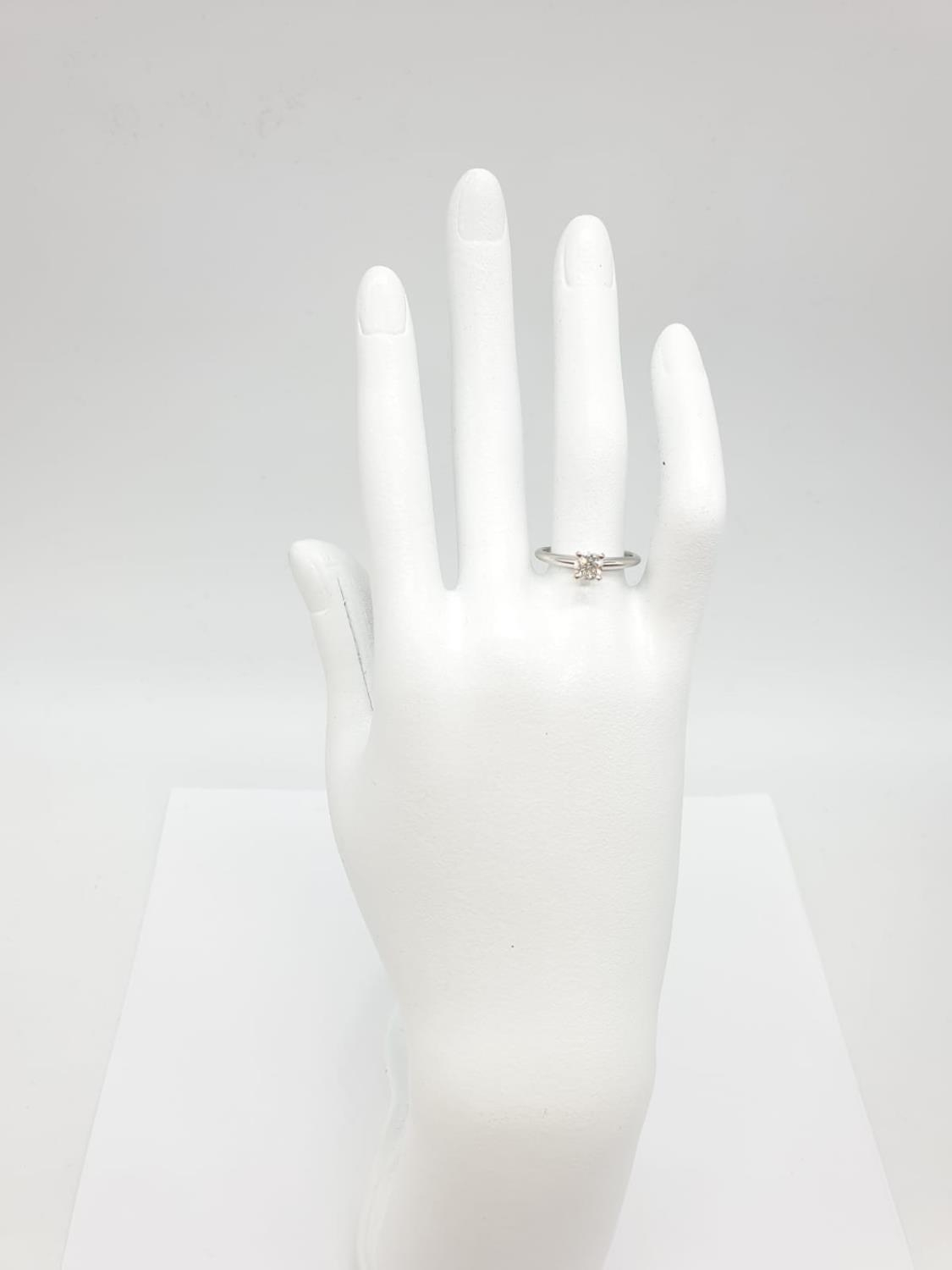 14ct white gold with 0.56ct diamond solitaire ring (round brilliant cut, colour H, clarity SI1 - Image 5 of 18