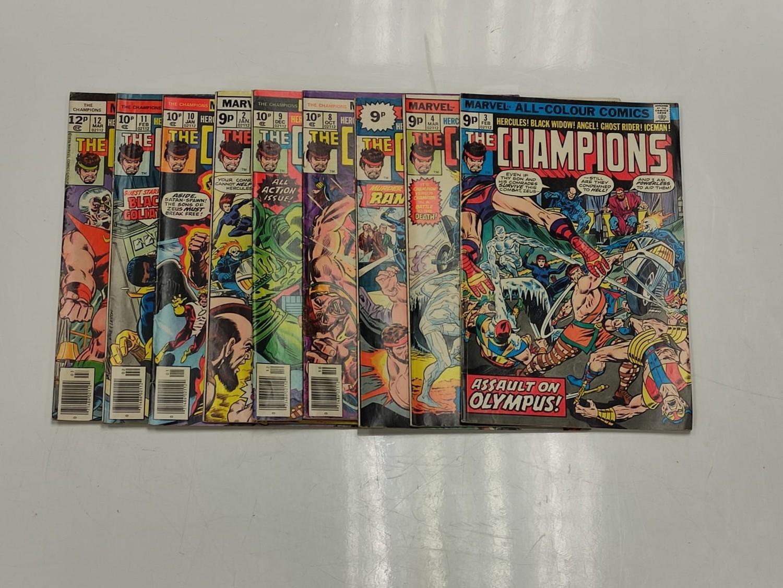9 Copies of Vintage Marvel 'The Champion' Comics.